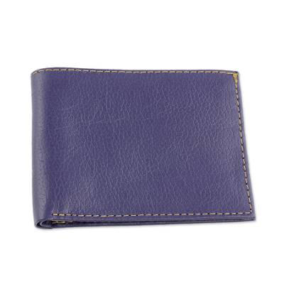 Hand Cut and Stitched Midnight Blue Bi-Fold Leather Wallet