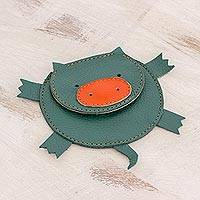 Leather coin purse, 'Piglet' - Hand Cut and Stitched Green Leather Piglet Coin Purse