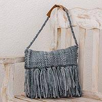 Recycled cotton blend shoulder bag, 'Woven Clouds' - Recycled Cotton Blend Handwoven Grey Fringed Handbag