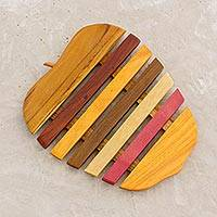 Wood trivet, 'Apple a Day' - Yellow and Red Wood Apple-Shaped Trivet