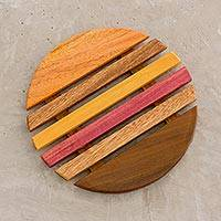 Wood trivet, 'Gradient Circle' - Yellow and Red Wood Round Trivet