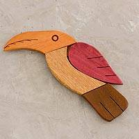 Wood trivet, 'Guacamaya' - Yellow and Red Wood Guacamaya Bird-Shaped Trivet