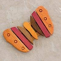 Wood trivet, 'Small Striped Wing' - Yellow and Red Wood Mini Butterfly-Shaped Trivet