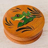 Cedar decorative box, 'Friendly Frog' - Cedar Round Lidded Decorative Box with Hand Painted Frog