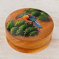 Cedar decorative box, 'Toucan's Treasure' - Cedar Round Lidded Decorative Box with Hand Painted Toucan