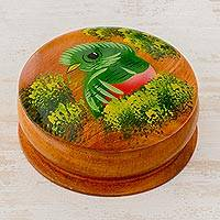 Cedar decorative box, 'Curious Quetzal' - Round Cedar Decorative Box with Hand Painted Quetzal