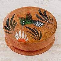 Cedar decorative box, 'Nectar Seeker' (4 inch) - Round Cedar Decorative Box with Hand Painted Hummingbird
