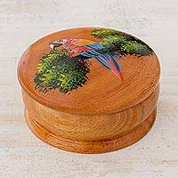 Cedar decorative box, 'Pretty Plumage' - Round Cedar Mini Decorative Box with Hand Painted Red Macaw