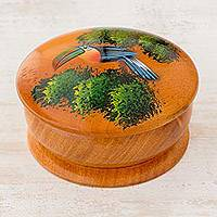Cedar decorative box, 'Toucan in Trees' - Round Cedar Mini Decorative Box with Hand Painted Toucan