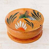 Cedar decorative box, 'Nectar Seeker' (3 inch) - Round Cedar Hand Painted Hummingbird Mini Decorative Box