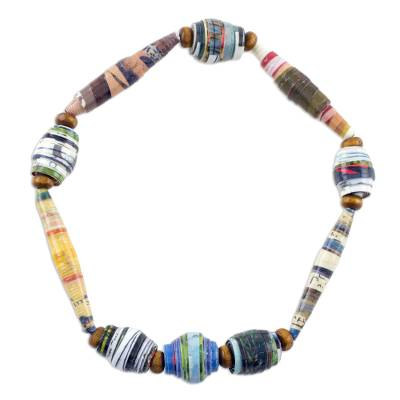 Handcrafted Colorful Recycled Paper Beaded Stretch Bracelet