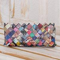 Recycled magazine clutch, 'Fashion Fiesta' (4 inch) - Handcrafted Multicolor Recycled Magazine Paper 4 Inch Clutch