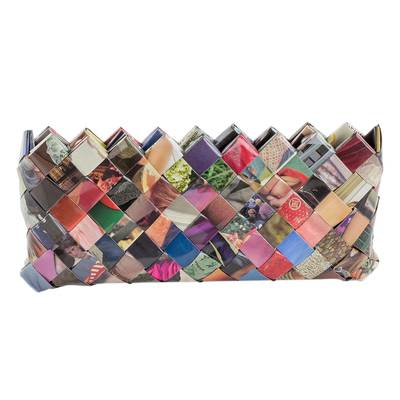 Handcrafted Multicolor Recycled Magazine Paper 4 Inch Clutch