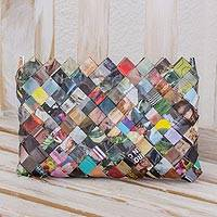 Recycled magazine clutch, 'Fashion Fiesta' (6 inch) - Handcrafted Multicolor Recycled Magazine Paper 6-Inch Clutch