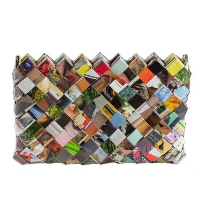 Handcrafted Multicolor Recycled Magazine Paper 6-Inch Clutch