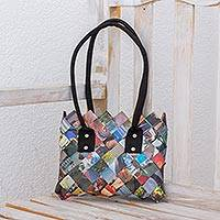 Recycled magazine shoulder bag, 'Modern Collage' - Handcrafted Multicolor Recycled Magazine Paper Shoulder Bag