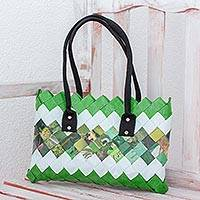 Recycled magazine shoulder bag, 'New Fields' - Handcrafted Green Recycled Magazine Paper Shoulder Bag