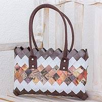 Recycled magazine shoulder bag, 'Solid Ground' - Handcrafted Brown Recycled Magazine Paper Shoulder Bag