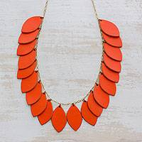 Leather pendant necklace, 'Festival of Leaves in Orange' - Handcrafted Leather and Bronze Pendant Necklace