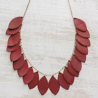 Leather pendant necklace, 'Festival of Leaves in Red' - Handcrafted Leather and Bronze Pendant Necklace