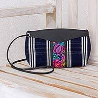 Leather accent cotton shoulder bag, 'Garden Window' - Navy Striped and Floral Handwoven Cotton Shoulder Bag