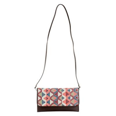 Brown Leather Colorful Handwoven Cotton Clutch Shoulder Bag