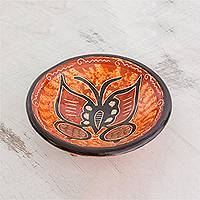 Ceramic decorative bowl, 'Meanderer' - Orange and Brown Butterfly Chorotega Pottery Decorative Bowl