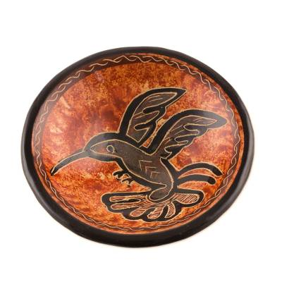 Earth-Toned Hummingbird Chorotega Pottery Decorative Bowl