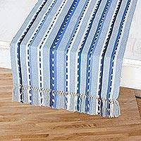 Cotton table runner, 'Skies of Guatemala' - Handwoven Blue Cotton Table Runner from Guatemala