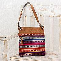 Suede accent cotton shoulder bag, 'Happiness and Tradition' - Striped Suede Accent Cotton Shoulder Bag from Guatemala