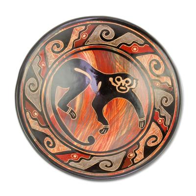 Black Monkey Earth-Toned Chorotega Pottery Decorative Plate