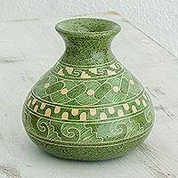Ceramic decorative vase, 'Natural Heritage' - Green Abstract Motif Chorotega Pottery Decorative Vase