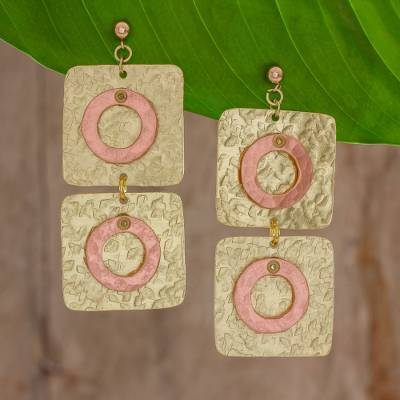 Brass and copper dangle earrings, 'Shining Modernity' - Square and Circle Motif Brass and Copper Earrings