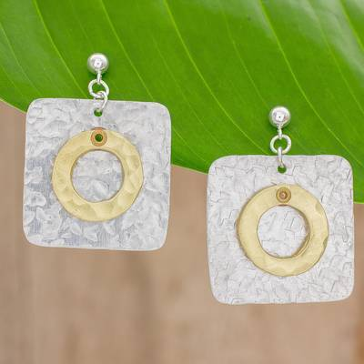 Brass and aluminum dangle earrings, 'Combination of Forms' - Square Brass and Aluminum Dangle Earrings from Guatemala