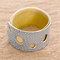 Aluminum and brass band ring, 'Glimmering Circles' - Aluminum and Brass Modern Band Ring from Guatemala