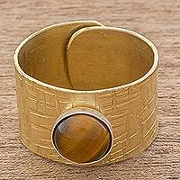 Tiger's eye wrap ring, 'Simple Strength' - Tiger's Eye and Brass Single-Stone Ring from Guatemala