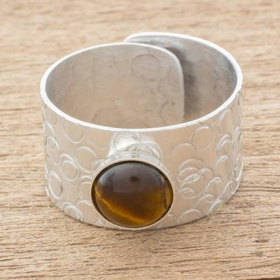Tiger's Eye and Aluminum Single-Stone Ring from Guatemala