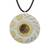 Tiger's eye pendant necklace, 'Shining Suns' - Modern Tiger's Eye and Brass Circle Pendant Necklace (image 2a) thumbail