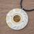 Tiger's eye pendant necklace, 'Shining Suns' - Modern Tiger's Eye and Brass Circle Pendant Necklace (image 2b) thumbail