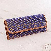 Leather accent cotton wallet, 'Texture and Beauty' - Leather Accent Cotton Wallet from Guatemala