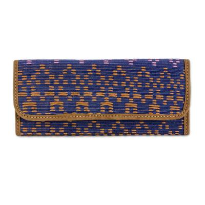 Leather Accent Cotton Wallet from Guatemala