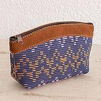 Leather accent cotton cosmetic bag, 'Beautiful Texture' - Leather Accent Cotton Cosmetic Bag from Guatemala