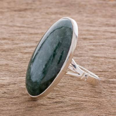 Oval Jade and Sterling Silver Cocktail Ring from Guatemala