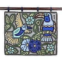 Recycled cotton blend tapestry, 'Calm' - Nature-Themed Cotton Blend Tapestry from Guatemala