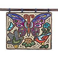 Recycled cotton blend tapestry, 'Birds and Butterflies' - Butterfly-Themed Cotton Blend Tapestry from Guatemala