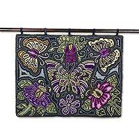 Recycled cotton blend tapestry, 'Butterfly Heaven' - Butterfly-Themed Cotton Blend Tapestry from Guatemala