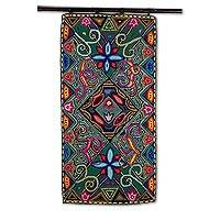 Recycled cotton blend tapestry, 'Market Marvels' - Handcrafted Colorful Cotton Blend Tapestry from Guatemala
