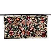 Recycled cotton blend tapestry, 'Garden View' - Artisan Crafted Cotton Blend Tapestry from Guatemala