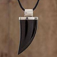 Men's jade pendant necklace, 'Strong Bite' - Men's Black Jade and Sterling Silver Fang Pendant Necklace