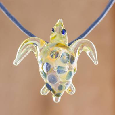 Art glass pendant necklace, 'Beautiful Sea Turtle in Yellow' - Glass Sea Turtle Pendant Necklace in Yellow from Costa Rica